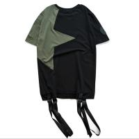 Buy cheap Army Green / Black Mens Trendy T Shirts Plain Dyed Technics With Hem Two Strap from wholesalers