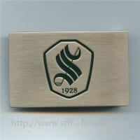 Buy cheap Brush nickel flat belt buckle with engraved logo, custom made alloy belt buckle, from wholesalers