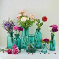 Buy cheap Home Deco Glass Vases / Blue Glass Flower Bottle / Round Top Vase from wholesalers