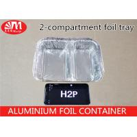 Quality H2P Aluminium Foil Products 1000ml Volume Tin Foil Food Containers 2 Compartments for sale