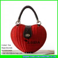 Buy cheap LUDA fashion heart shape rattan plaited woven shoulder bag cross body bag from wholesalers