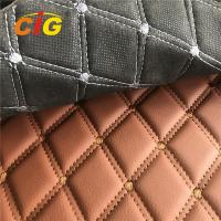 Buy cheap Car Seat Car Floor Embroidery PVC leather with Black Foam and Black Non-woven Backing product