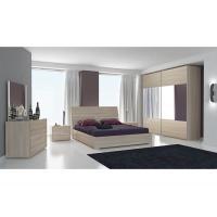 Hotel Oak Color Melamine Bedroom Furniture With 2.3 Meters Sliding Wardrobe
