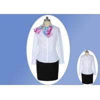 Buy cheap Casual V Neck Office Work Uniforms , White Lapel Collar Womens Work Uniforms from wholesalers