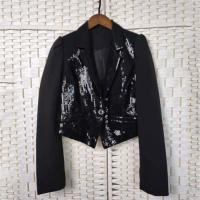 Buy cheap Lapel Buttoned Ladies Black Sequin Blazer Fashionable For Night Club Party product