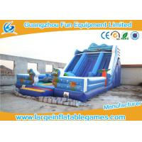Buy cheap Happy Hop Blue Inflatable Dry Slide , Inflatable Double Slip And Slide With Pool from wholesalers