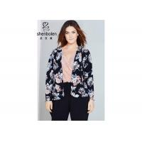 Buy cheap Trendy Floral Print Plus Size Ladies Clothing For Young Women Open Front Waterfall Jacket from wholesalers
