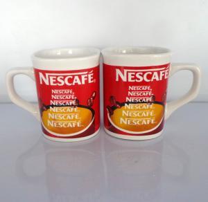China Export NESCAFE ceramic coffee mug custom LOGO red coffee mug  mark cup on sale