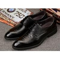 Buy cheap Low Heel Almond Toe Dress Shoes , Mens Black Leather Derby Shoes For Wedding from wholesalers