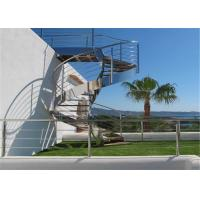 Buy cheap Stainless Steel Metal Spiral Staircase , Curved Basement Stairs Customized Size from wholesalers