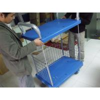 Buy cheap Two Layers Folding Storage Cart Warehouse Trolley Cart On Wheel For Goods Storing from wholesalers