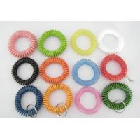 Buy cheap 12pcs assorted color plastic spiral coil wrist band key ring chain coil bracelet w/keyring from wholesalers