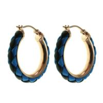 Buy cheap E359-3 Stainless Steel Hinged Hoop Earrings With Blue And Black Leather, Stainless Steel Hoop Earrings from wholesalers