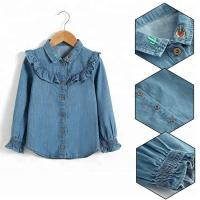 Buy cheap 100% Cotton Children Slim Fit Long Ruffles Sleeve Denim Tops With Wood Button Closure from wholesalers