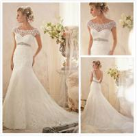 Trumpet low back cape sleeves beaded sash lace wedding for Plus size trumpet wedding dress with sleeves