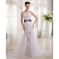 Buy cheap Luxurious Lace Flower Bra Beaded Wedding Dresses Fishtail Skirt with Rhinestone Belt from wholesalers
