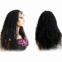 Buy cheap 20-inch Jerry Curl Brazilian Virgin Remy Hair Lace Front Wig in #1b Color and Super Fine Swiss Lace from wholesalers