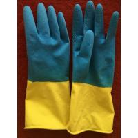 Buy cheap Double color household gloves Latex Outer Material and Cleaning Usage flock lined latex gloves from wholesalers