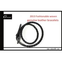 Buy cheap Charm custom leather bracelet / stainless steel leather wristband from wholesalers
