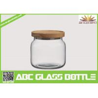 Buy cheap Wholesale clear food glass jar with wooden lid from wholesalers