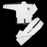 Buy cheap Hot sale Custom white ITF master Taekwondo uniform striped ITF TKD uniform Taekwondo Gi for master 4-6 dan from wholesalers
