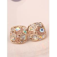 Buy cheap New Korean Multicolor Imitation Diamond Golden Square Stud Earrings for Women Girls Drop Jewelry from wholesalers