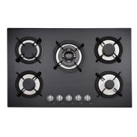 Buy cheap Insert Black Gas Hob 5 Burner With Stainelss Steel / Tempered Glass Top from wholesalers