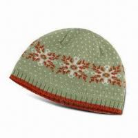 Buy cheap Children's 2/24 70% Acrylic 30% Wool Jacquard Knit Hat with Fur Lining from wholesalers