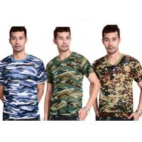 Buy cheap Professional Unisex Cotton Military T Shirts Round Neck Edging Double Line Hem from wholesalers