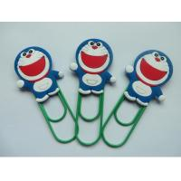 Buy cheap Lovely Doraemon Rubber PVC Bookmark With Green Clip , Mini Size , Best Christmas Gift For Children from wholesalers
