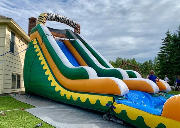 Buy cheap Commercial High Quality Giant Adults N Kids Yellow Inflatable Jungle Water Slides With Pool from wholesalers