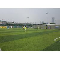Buy cheap Healthy Flat Artificial Football Turf Lively Olive Color Solid Backing 50mm Height product