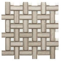 Buy cheap Onyx White Chevron Mosaic Tile , 7 / 8mm Thick Bathroom Stone Mosaic Tile from wholesalers