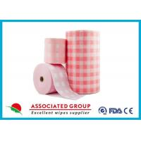 Buy cheap Pink Checked Pattern Spunlace Nonwoven Rolls Soft & Lint Free from Wholesalers