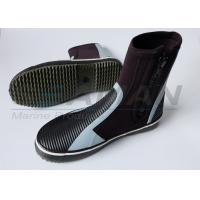 Buy cheap 5mm hi top zipper Neoprene wetsuit boots with anti - slip rubber sole from wholesalers
