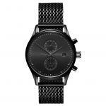 Buy cheap Black CD grain stainless steel back quartz watch 5ATM waterproof from wholesalers