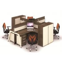 Buy cheap Multi Color Office Furniture Partitions  , Frosted Glass And Metal Board Desk Open 4 Person Office Workstation from wholesalers