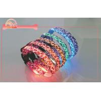 Buy cheap Leopard Ribbon Fluorescence webbing Led Dog Collar Glow Light For Small Dog Length 28cm from wholesalers