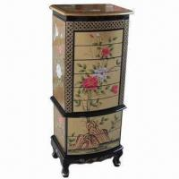 Buy cheap 8 Drawer 2 Door Jewelry Cabinet with Gold Color and Hand Painted Landscape from wholesalers