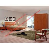 Buy cheap Red cherry wood made grand Germany quality style furniture by Bent plate headboard bed and large armoire cabinet from wholesalers