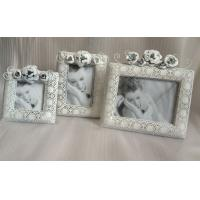 "Buy cheap 4x4"" Antique White Metal Flower Personalized Photo Frames For Home Use product"