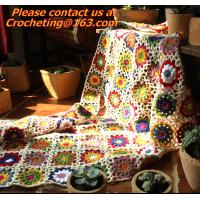 Buy cheap Hand-Woven Daisy colored stripes Crochet blanket flowers wallpaper table cloth crochet sof from wholesalers