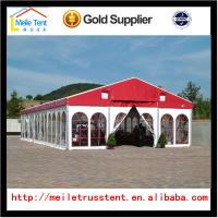 Buy cheap 10x30m white Reinforced pvc fabric high peak tent roof top polygonal tent for 300 people from wholesalers