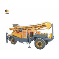 Buy cheap DTH Water Well Drilling Rig Four Wheel Trailer Mounted 93KW Engine Power from wholesalers