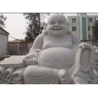 Buy cheap Chinese Happy Laugh Buddha White Carved Sitting Buddha Sculpture from wholesalers
