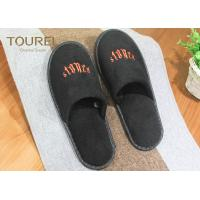 Buy cheap Black Poly Velour Disposable Spa Slippers Large Disposable House Slippers from wholesalers