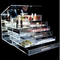 China Acrylic Material Diamond Handle Clear Acrylic Makeup Organizer on sale