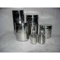 Buy cheap 4pc Oval Glass Storage Canister Jar Set w. Stainless Wrap from wholesalers