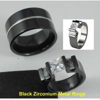 Buy cheap Tagor Jewelry Made Customize Shiny Brushed Wedding Engagement Black Zirconium Rings from wholesalers