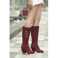 Buy cheap pure color rhinestone zipper knee boots nubuck genuine leather lady shoes wholesales from wholesalers